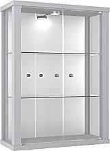 K-Möbel Vitrina Mueble de Pared 80x60x25 cm Plata