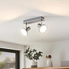 Kajetan foco LED, níquel, 2 luces - Lindby