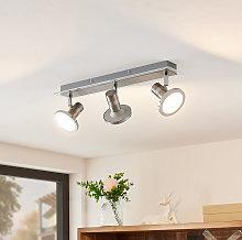 Kajetan foco LED, níquel, 3 luces - Lindby