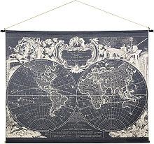 Kakemono con estampado de mapamundi 191x139