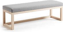 Kave Home - Banqueta Loya gris de madera maciza de