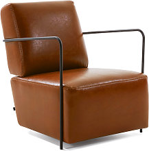 Kave Home - Butaca Gamer piel sintética marrón y