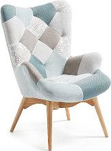 Kave Home - Butaca Kody de patchwork azul y patas