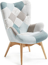 Kave Home - Butaca Kody patchwork azul