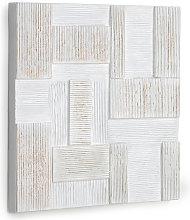 Kave Home - Lienzo Alvida con rectángulos blanco