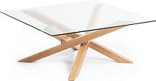 Kave Home - Mesa de centro Kamido cristal y patas