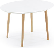 Kave Home - Mesa extensible oval Oqui blanco 120