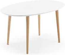 Kave Home - Mesa extensible oval Oqui blanco 140