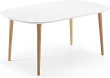 Kave Home - Mesa extensible oval Oqui blanco 160