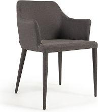 Kave Home - Silla Croft gris oscuro y patas en tela