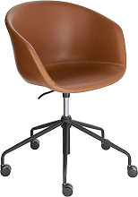 Kave Home - Silla de escritorio Yvette piel marrón
