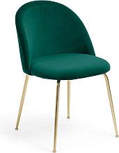 Kave Home - Silla Ivonne terciopelo verde