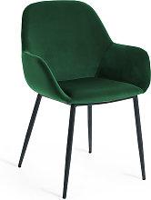 Kave Home - Silla Konna de terciopelo verde