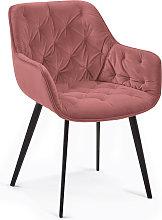 Kave Home - Silla Mulder terciopelo rosa
