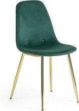 Kave Home - Silla Yaren terciopelo verde