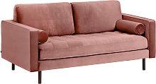 Kave Home - Sofá Debra 2 plazas terciopelo rosa