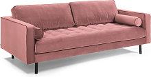 Kave Home - Sofá Debra 3 plazas terciopelo rosa