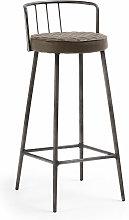 Kave Home - Taburete alto de bar Tivan marrón 76