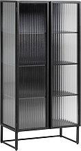Kave Home - Vitrina Trixie acero con acabado negro
