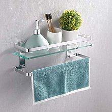 KES Estanteria Baño con Toallero Aluminio Balda