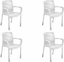 Keter Bali Set de 4 sillas de jardín, Blanco