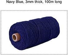 Kingso - 3 mm 100 m Color Cuerda de algodón
