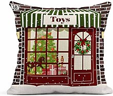 Kinhevao Cojín Christmas Toy Store Fachada