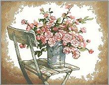 Kit de punto de cruz de conteo, silla blanca rosa,