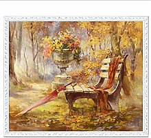 Kit de punto de cruz paraguas en silla de madera