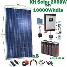Kit Solar 24v 2000w Inversor Híbrido 3Kw MPPT 80A