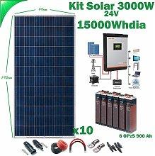 Kit Solar 24v 3000w Inversor Híbrido 3Kw MPPT 80A