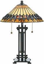 Lámpara Chastain, bronce vintage y vidrio Tiffany
