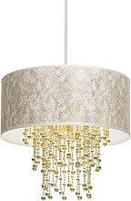 Lámpara colgante Almeira, pantalla textil, cortina