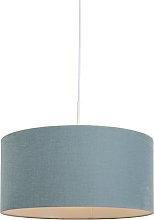 Lámpara colgante blanca con pantalla azul 50 cm -