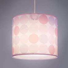 Lámpara colgante Colors con lunares, rosa