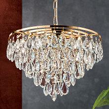 Lámpara colgante de cristal Helene dorada