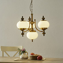 Lámpara colgante Delia, latón envejecido, 4 luces