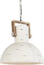 Lámpara colgante industrial blanca madera -