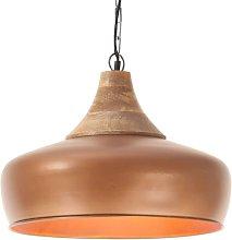Lámpara colgante industrial hierro cobre y madera
