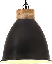 Lámpara colgante industrial hierro negro y madera
