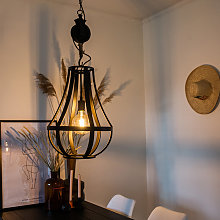 Lámpara colgante industrial negra 40cm - MORGANA