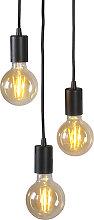 Lámpara colgante industrial negra - FACIL 3