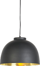Lámpara colgante industrial negra/oro 40cm - HOODI