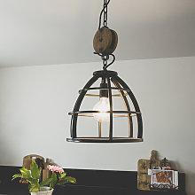 Lámpara colgante industrial redonda acero negra