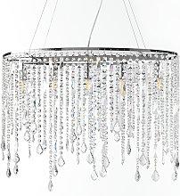 Lámpara colgante Laila, cortina de cristal 5 luces