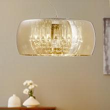 Lámpara colgante LED Argos, gotas de cristal
