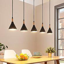 Lámpara colgante LED Arina con 5 pantallas negras