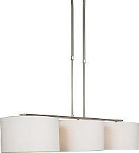 Lámpara colgante moderna acero pantalla blanca -
