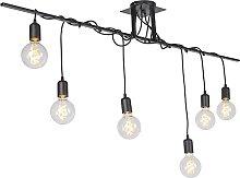 Lámpara colgante moderna negra 6-luces cable