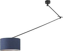 Lámpara colgante negra descentrada con pantalla